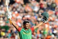 Bangladesh's Mahmudullah celebrates after scoring a century