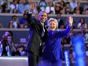 President Barack Obama and Democratic Presidential candidate Hillary Clinton