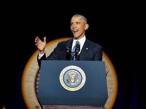 President Barack Obama speaks during his farewell address at McCormick Place in Chicago