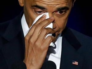 President Barack Obama wipes his tears as he speaks at McCormick Place in Chicago