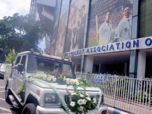 A vehicle carrying the last remains of BCCI President