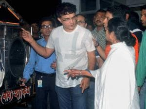 West Bengal Chief Minister Mamata Banerjee with former Indian cricket captain Sourav Ganguly