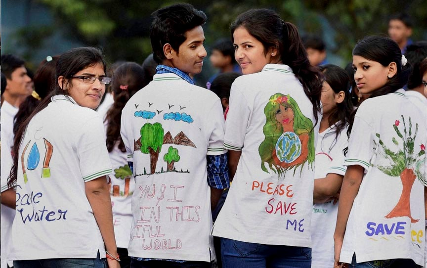 Students, take part, Save Enviornment, Save Earth, Save Water, awareness, rally, Freedom Park, Bengaluru
