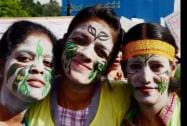 Students with painted faces take part in the Save Enviornment- Save Earth- Save Water awareness rally