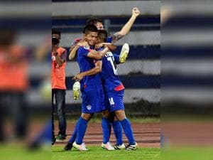 Bengaluru FC Captain Sunil Chhetri celebrates after scoring a goal against Johor Darul TA'ZIM (MAS)  during the AFC Cup 2016 Knock out match