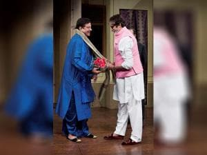 Amitabh Bachchan is greeted by Shatrughan Sinha as he arrives to watch the play Pati, Patni Aur Main at NCPA theatre