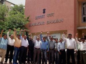 Income Tax officers on strike outside the Aayakar Bhavan