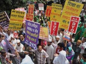 Trade Union workers holding a rally in Moradabad