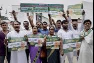 Janata Dal (United) supporters at a rally after declaration of Bihar bypoll results