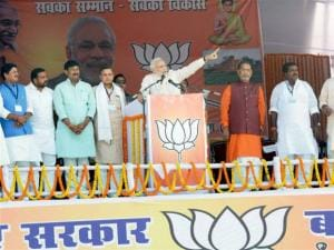 Narendra Modi addresses during an election rally in Bihar