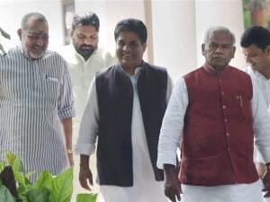 Giriraj Singh, Bhupender Yadav and Ram Manjhi