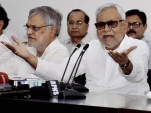 Nitish Kumar with Bihar Congress incharge CP Joshi