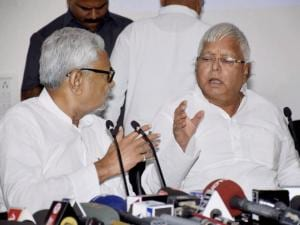 Nitish Kumar with Lalu Prasad