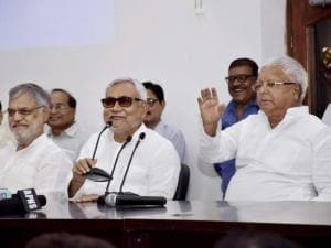 Nitish Kumar with Lalu Prasad and Bihar Congress incharge CP Joshi