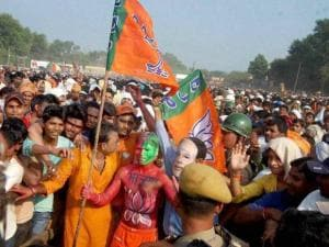 BJP supporters at Prime Minister Narendra Modi's election rally