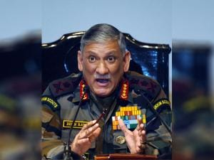 Army Chief  Bipin Rawat gestures during the Army's annual press conference