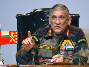 Army Chief Bipin Rawat gestures during the Army's annual press conference in New Delhi