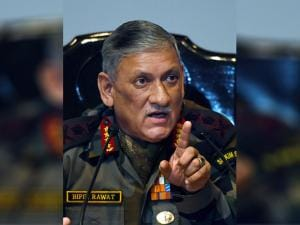 Army Chief Gen Bipin Rawat gestures during the Army's annual press conference