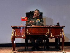 Army Chief Gen Bipin Rawat gestures during the Army's annual press conference in New Delhi