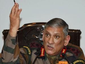 Gen Bipin Rawat gestures during the Army's annual press conference