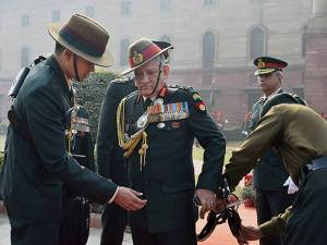 Army Chief General Bipin Rawat after the guard of honour at South Block