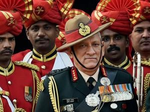 New Army Chief General Bipin Rawat  after guard of honour at South Block