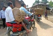 Villagers leaving after violence erupted during the clash between TMC and BJP workers in Birbhum