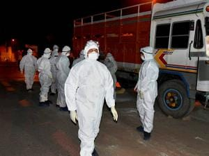 Animal husbandry doctors in bird-flu protected hazmat suits