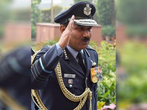 Outgoing Chief of Air Staff Air Chief Marshal Arup Raha Arup Raha take the guard of honour