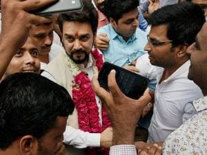 BCCI president Anurag Thakur being greeted by supporters at his residence in New Delhi (3)