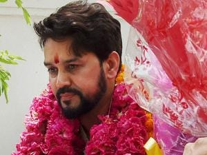 BCCI president Anurag Thakur being greeted by supporters at his residence in New Delhi (4)