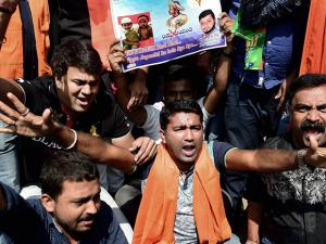BJP workers protest against the Congress government for celebrating Tipu Jayanti