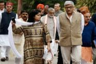 BJP MP's coming out after the Parliamentary Board meeting in New Delhi
