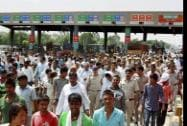 Residents of more than fifty villages blocked Kherki Daula toll plaza