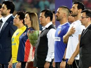 Nita Ambani and others during the opening ceremony of 3rd season of Indian Super League (ISL) 2016