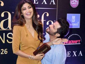 Shilpa Shetty and Anil Kapoor during a press conference of IIFA awards in Mumbai