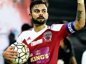 Virat Kohli during a charity football match in Mumbai