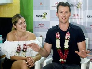 Brett Lee along with wife Lana Anderson during a music therapy session for young cancer patients