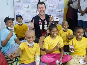 Brett Lee during a music therapy session for young cancer patients at St Jude's India Child Care Center