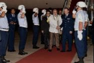 Prime Minister Narendra Modi is welcomed on arrival at Brasilia International Airport in Brazil on Tuesday night