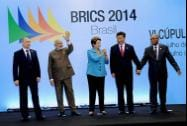 Prime Minister Narendra Modi with Russian President Vladimir Putin,  Brazilian President Dilma Rousseff,  Chinese President Xi Jinping, and South African President Jacob Zuma at BRICS summit in Ceara events centre