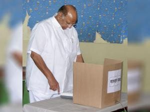 NCP Chief Sharad Pawar casting his vote