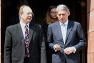 British Foreign Secretary Philip Hammond after a meeting with Finance minister Arun Jaitley