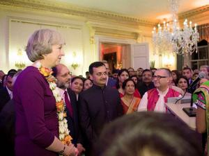 British Prime Minister Theresa May with the Indian entrepreneurs