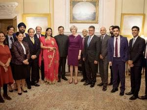 Theresa May with the Indian entrepreneurs at a Diwali reception in her official residence 10 Downing Street in London