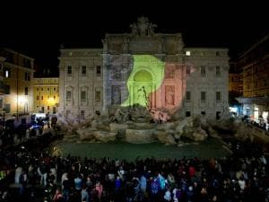 The Belgian flag is projected on Rome's historical Trevi Fountain to honor the victims of the deadly attacks at Brussels airport and subway