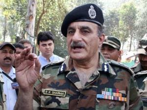 BSF IG Rakesh Sharma addressing the media at Allah-Mai-Di-Kothi BoP of RS Pura sector where a 30-metre-long tunnel from Pakistan to the Indian side was detected by the Force, in Jammu