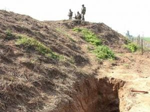 BSF jawans guard at Allah-Mai-Di-Kothi BoP of RS Pura sector where a 30-metre-long tunnel from Pakistan to_the Indian side was detected by the force in Jammu