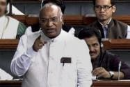 Congress leader Mallikarjun Kharge speaks in the Lok Sabha