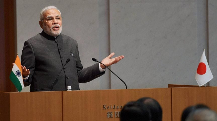 Prime Minister, Narendra Modi, toasts, business luncheon, hosted, Japan Business Federation, Tokyo